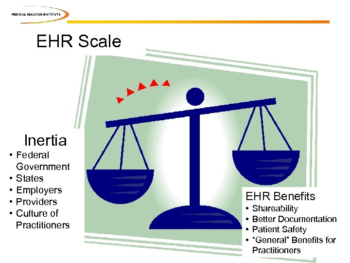 EHR Scale Inertia • Federal Government • States • Employers • Providers • Culture