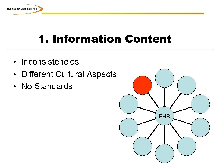 1. Information Content • Inconsistencies • Different Cultural Aspects • No Standards EHR