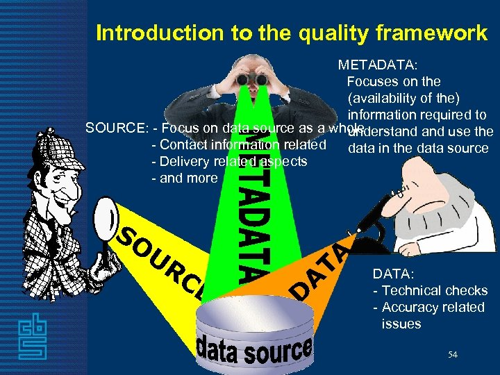 Introduction to the quality framework A UR CE D SO TA METADATA: Focuses on