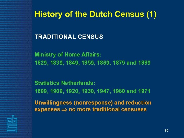 History of the Dutch Census (1) TRADITIONAL CENSUS Ministry of Home Affairs: 1829, 1839,