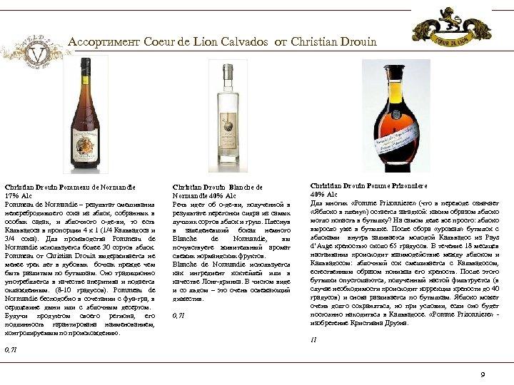 Ассортимент Coeur de Lion Calvados от Christian Drouin Pommeau de Normandie 17% Alc Pommeau