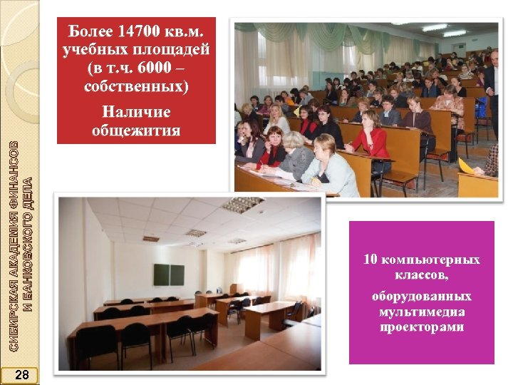 Более 14700 кв. м. учебных площадей (в т. ч. 6000 – собственных) СИБИРСКАЯ АКАДЕМИЯ