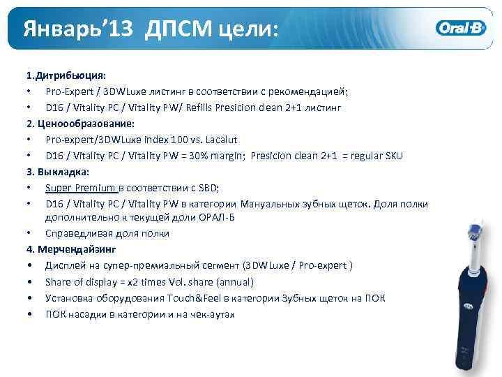 Январь' 13 ДПСМ цели: 1. Дитрибьюция: • Pro-Expert / 3 DWLuxe листинг в соответствии