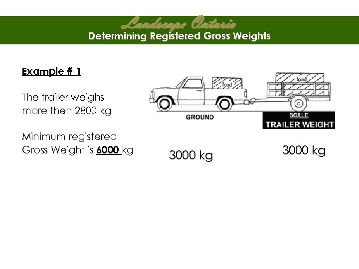Landscape Ontario Determining Registered Gross Weights Example # 1 The trailer weighs more then