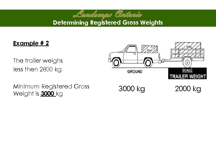Landscape Ontario Determining Registered Gross Weights Example # 2 The trailer weighs less then