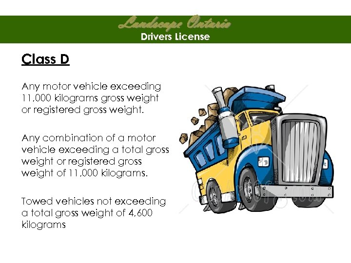 Landscape Ontario Drivers License Class D Any motor vehicle exceeding 11, 000 kilograms gross