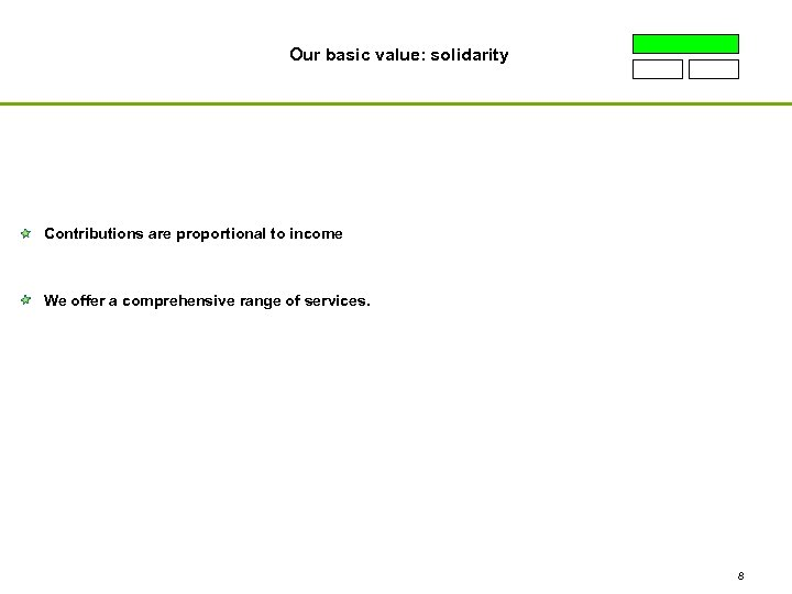 Our basic value: solidarity Contributions are proportional to income We offer a comprehensive range