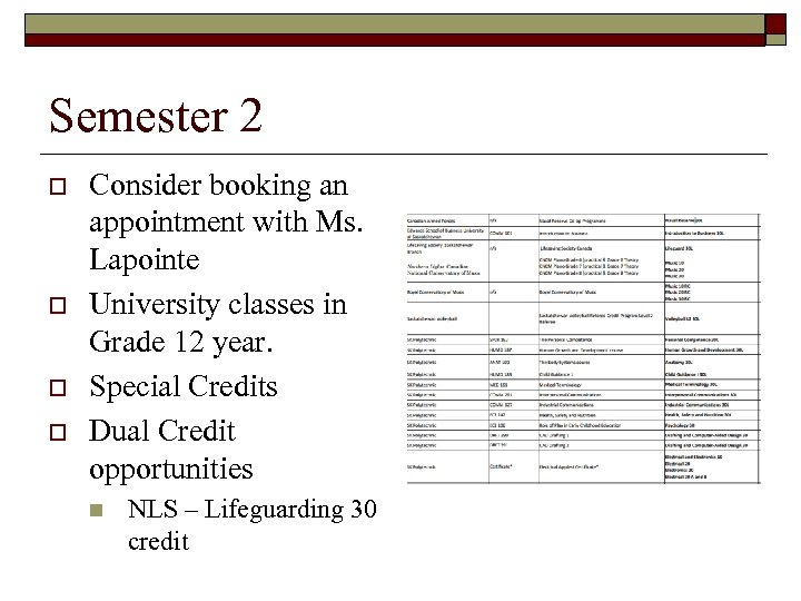 Semester 2 o o Consider booking an appointment with Ms. Lapointe University classes in