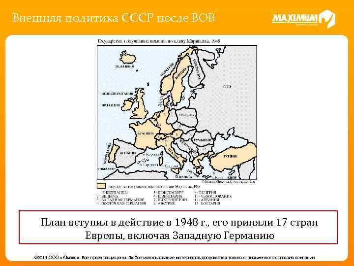 Внешняя политика СССР после ВОВ План вступил в действие в 1948 г. , его