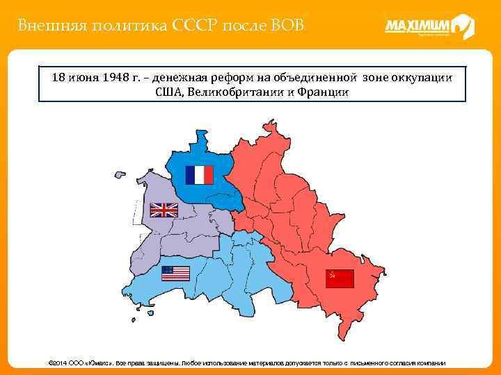 Внешняя политика СССР после ВОВ 18 июня 1948 г. – денежная реформ на объединенной