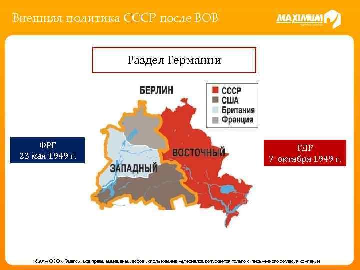 Внешняя политика СССР после ВОВ Раздел Германии ФРГ 23 мая 1949 г. ГДР 7
