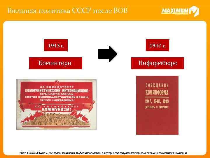 Внешняя политика СССР после ВОВ 1943 г. 1947 г. Коминтерн Информбюро © 2014 ООО