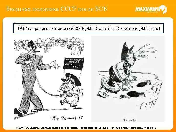 Внешняя политика СССР после ВОВ 1948 г. – разрыв отношений СССР(И. В. Сталин) и
