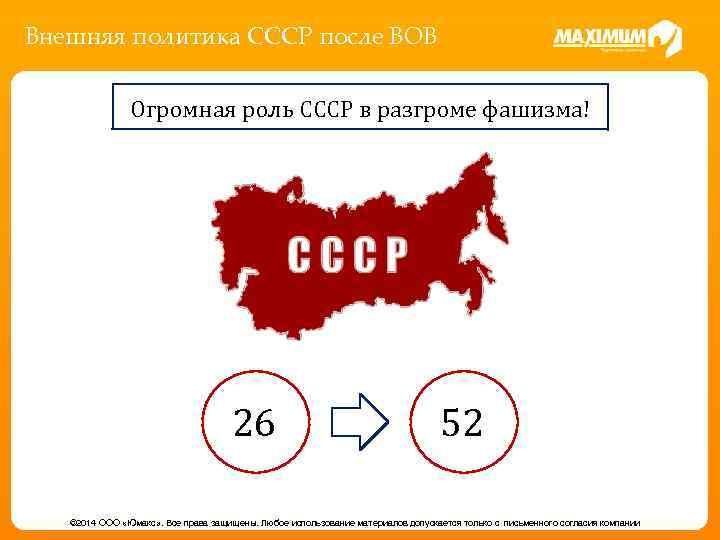 Внешняя политика СССР после ВОВ Огромная роль СССР в разгроме фашизма! 26 52 ©
