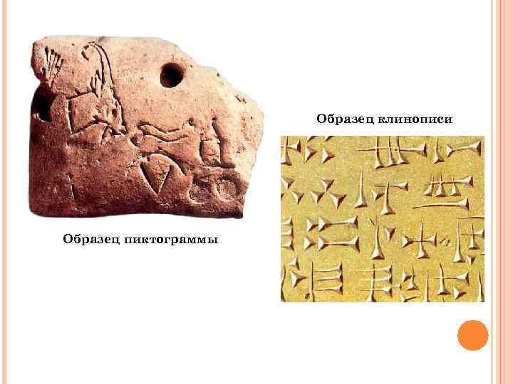 Образец клинописи Образец пиктограммы