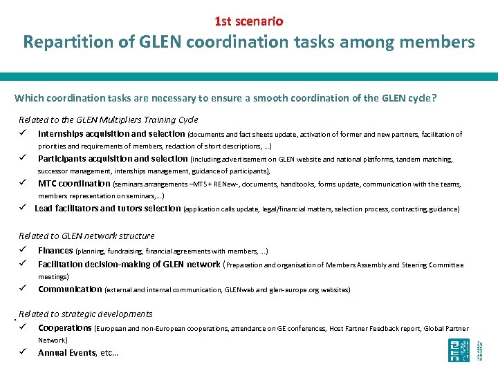 1 st scenario Repartition of GLEN coordination tasks among members Which coordination tasks are