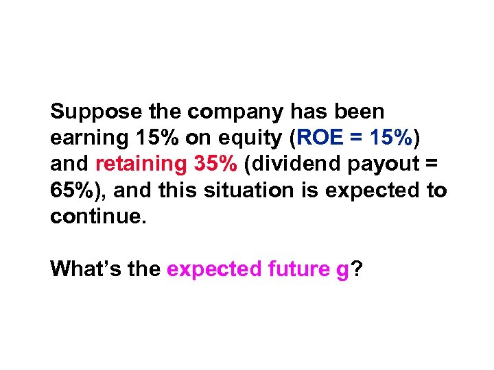Suppose the company has been earning 15% on equity (ROE = 15%) and retaining