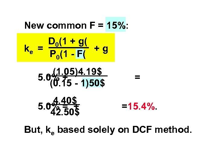 New common F = 15%: D 0(1 + g( ke = +g P 0(1