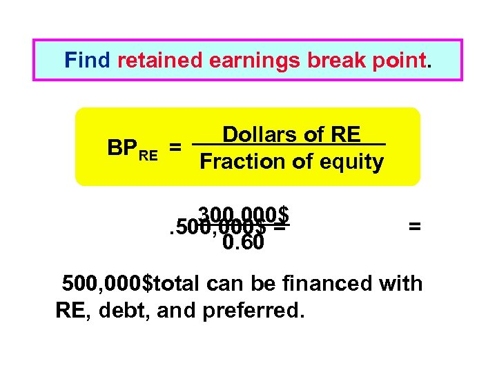 Find retained earnings break point. BPRE Dollars of RE = Fraction of equity 300,