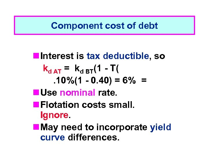 Component cost of debt n Interest is tax deductible, so kd AT = kd