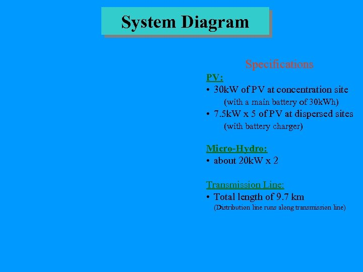 System Diagram Specifications PV: • 30 k. W of PV at concentration site (with