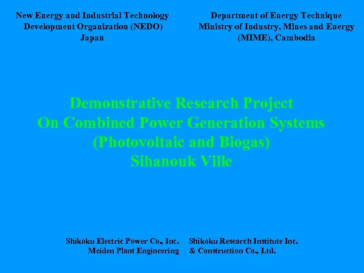 New Energy and Industrial Technology Development Organization (NEDO) Japan Department of Energy Technique Ministry