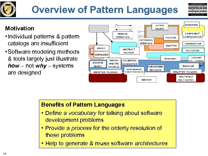 Overview of Pattern Languages Motivation • Individual patterns & pattern catalogs are insufficient •