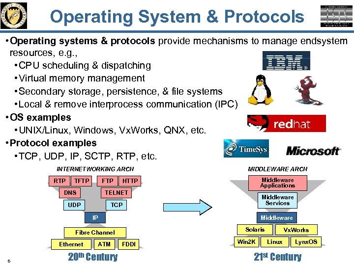 Operating System & Protocols • Operating systems & protocols provide mechanisms to manage endsystem