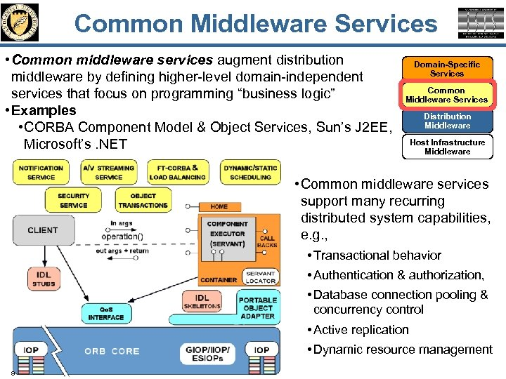 Common Middleware Services • Common middleware services augment distribution middleware by defining higher-level domain-independent