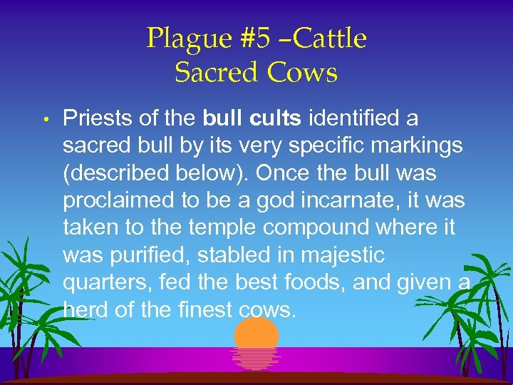 Plague #5 –Cattle Sacred Cows • Priests of the bull cults identified a sacred