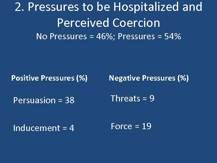 2. Pressures to be Hospitalized and Perceived Coercion No Pressures = 46%; Pressures =