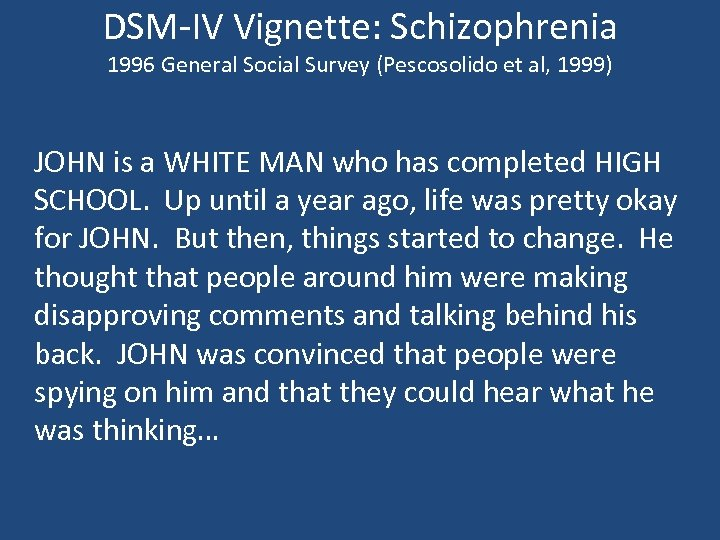 DSM-IV Vignette: Schizophrenia 1996 General Social Survey (Pescosolido et al, 1999) JOHN is a