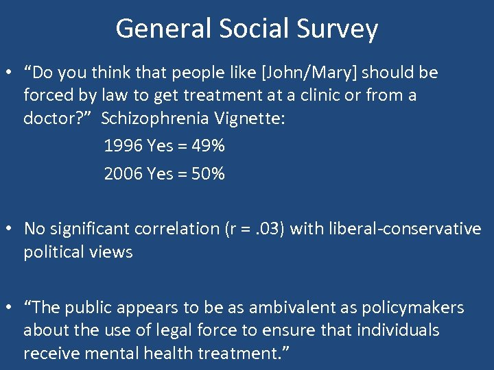 "General Social Survey • ""Do you think that people like [John/Mary] should be forced"