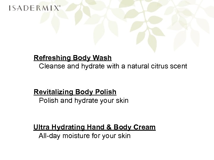 Refreshing Body Wash Cleanse and hydrate with a natural citrus scent Revitalizing Body Polish