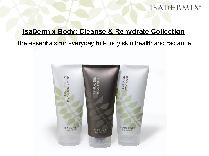 Isa. Dermix Body: Cleanse & Rehydrate Collection The essentials for everyday full-body skin health