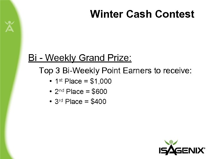 Winter Cash Contest Bi - Weekly Grand Prize: Top 3 Bi-Weekly Point Earners to