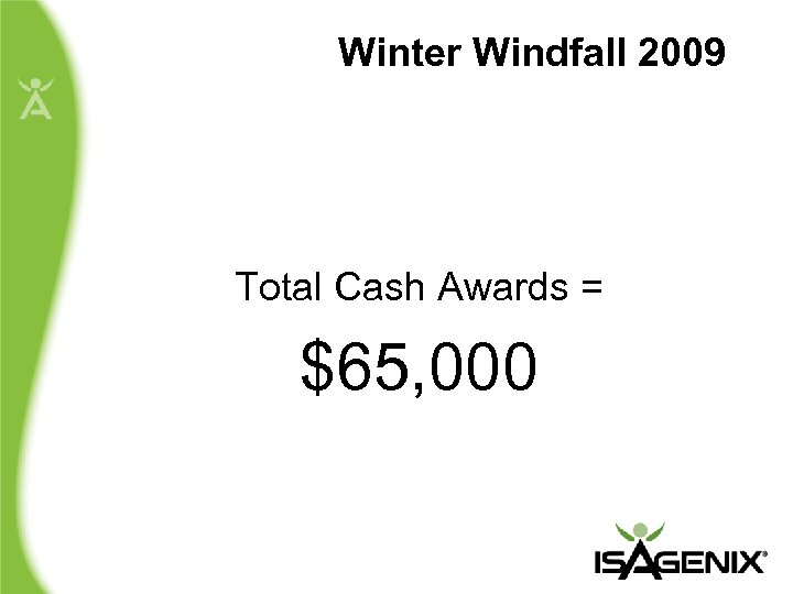 Winter Windfall 2009 Total Cash Awards = $65, 000