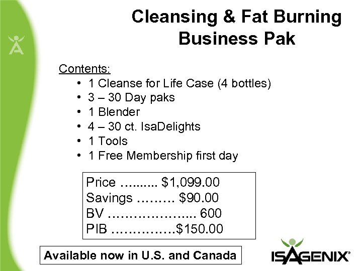 Cleansing & Fat Burning Business Pak Contents: • 1 Cleanse for Life Case (4