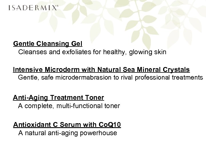 Gentle Cleansing Gel Cleanses and exfoliates for healthy, glowing skin Intensive Microderm with Natural