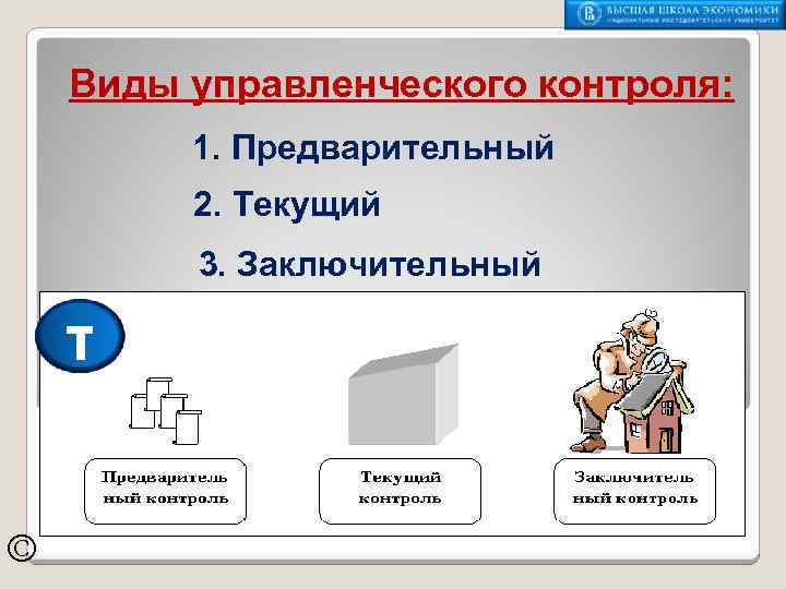 Виды управленческого контроля: 1. Предварительный 2. Текущий 3. Заключительный τ ©