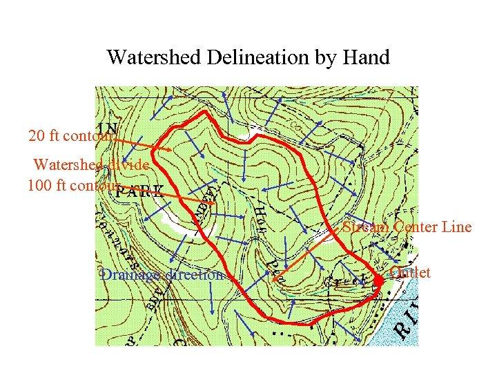 Watershed Delineation by Hand 20 ft contour Watershed divide 100 ft contour Stream Center