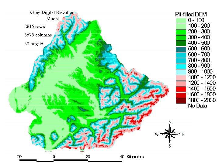 Grey Digital Elevation Model 2815 rows 3675 columns 30 m grid