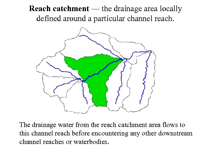 Reach catchment — the drainage area locally defined around a particular channel reach. The