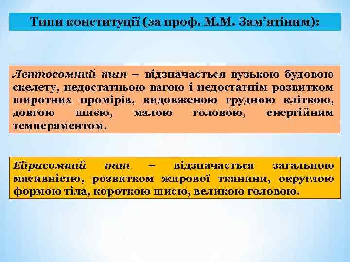 Типи конституції (за проф. М. М. Зам'ятіним): Лептосомний тип – відзначається вузькою будовою скелету,