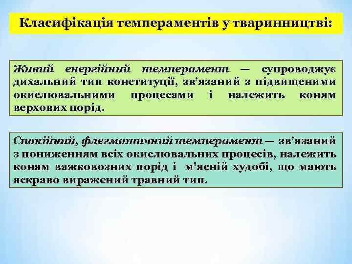 Класифікація темпераментів у тваринництві: Живий енергійний темперамент — супроводжує дихальний тип конституції, зв'язаний з