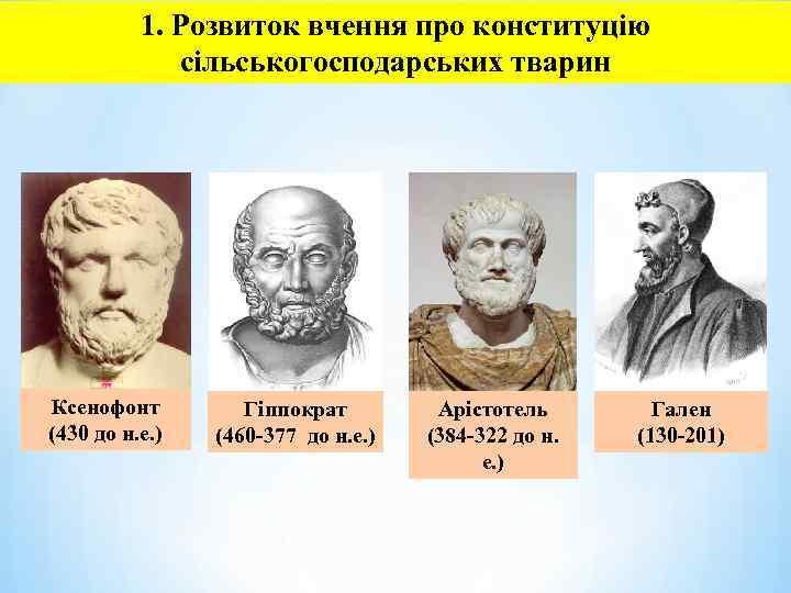 1. Розвиток вчення про конституцію сільськогосподарських тварин Ксенофонт (430 до н. е. ) Гіппократ