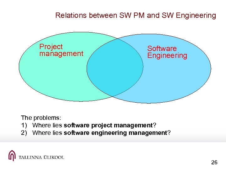 Relations between SW PM and SW Engineering Project management Software Engineering The problems: 1)
