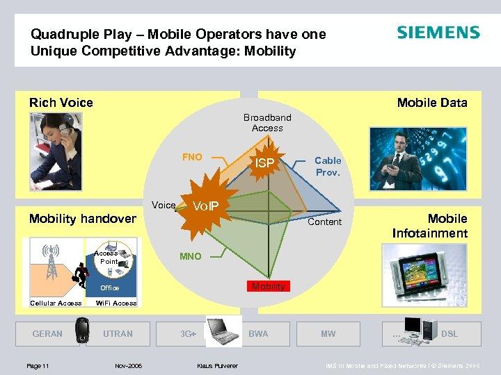 Quadruple Play – Mobile Operators have one Unique Competitive Advantage: Mobility Rich Voice Mobile