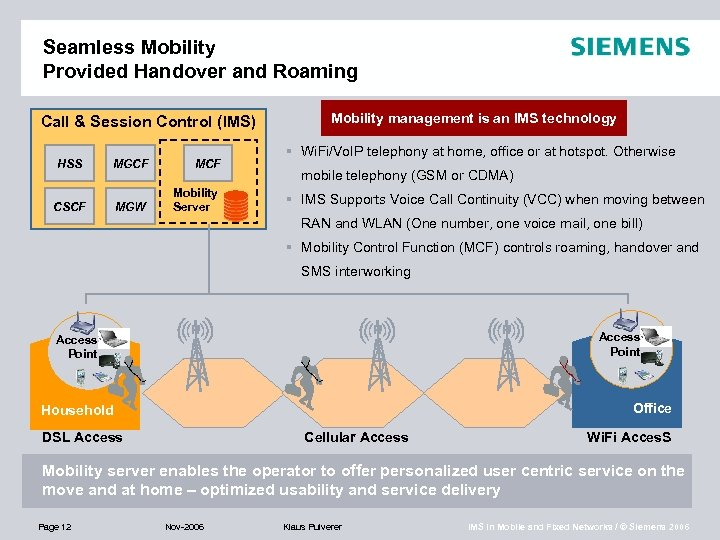 Seamless Mobility Provided Handover and Roaming Call & Session Control (IMS) HSS MGCF MCF