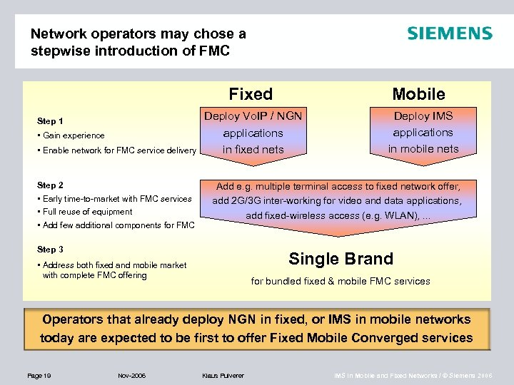 Network operators may chose a stepwise introduction of FMC Fixed Step 1 • Gain